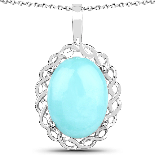 Pendants-5.85 Carat Genuine Turquoise .925 Sterling Silver Pendant