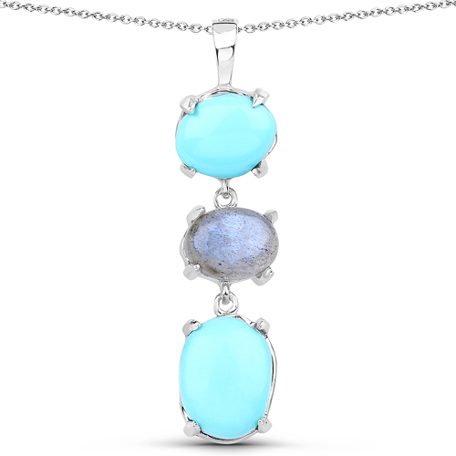 Pendants-5.63 Carat Genuine Turquoise And Labradorite .925 Sterling Silver Pendant