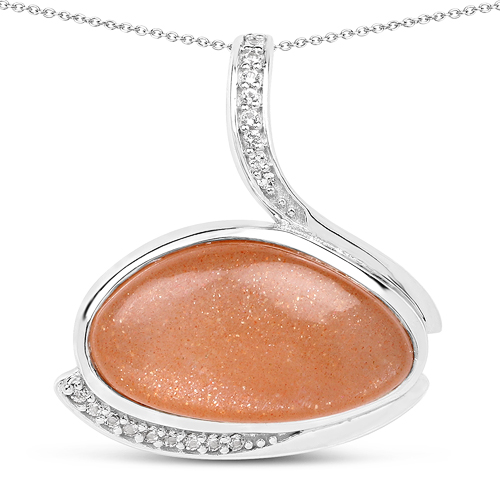 Pendants-6.56 Carat Genuine Peach Moonstone And White Topaz .925 Sterling Silver Pendant