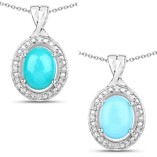 Pendants-1.88 Carat Genuine Turquoise and White Zircon .925 Sterling Silver Pendant