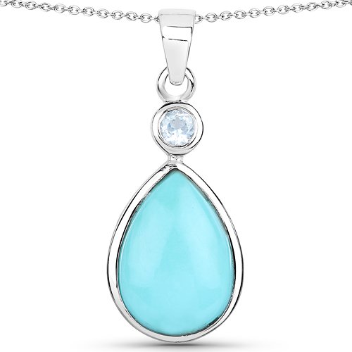 Pendants-3.62 Carat Genuine Turquoise and Blue Topaz .925 Sterling Silver Pendant