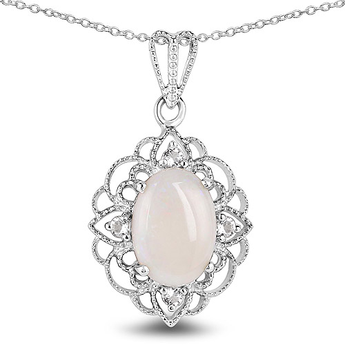 Opal-3.52 Carat Genuine Opal and White Topaz .925 Sterling Silver Pendant