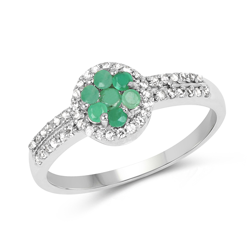 Emerald-0.46 Carat Genuine Emerald & White Topaz .925 Streling Silver Ring