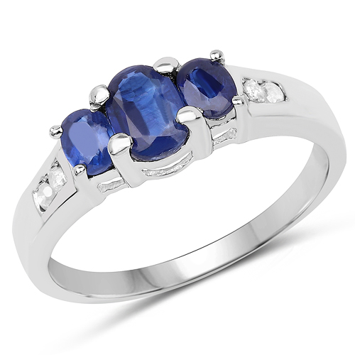 Rings-1.18 Carat Genuine Kyanite & White Diamond .925 Sterling Silver Ring