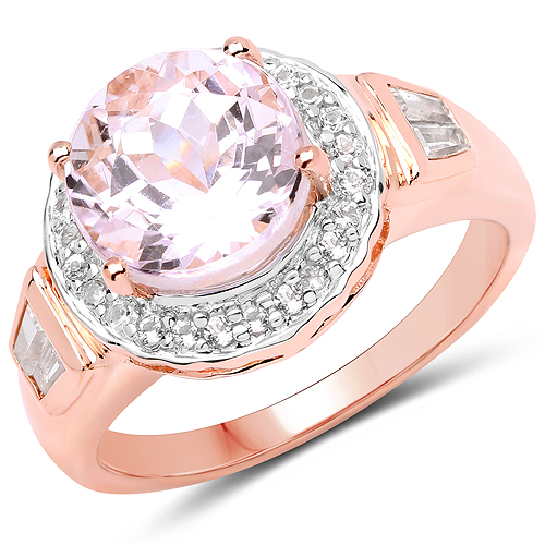 Rings-14K Rose Gold Plated 4.20 Carat Genuine Kunzite and White Topaz .925 Sterling Silver Ring