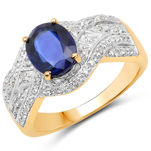 Rings-14K Yellow Gold Plated 2.56 Carat Genuine Kyanite and White Topaz .925 Sterling Silver Ring