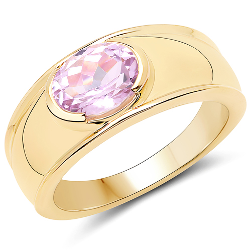 Rings-14K Yellow Gold Plated 2.40 Carat Genuine Kunzite .925 Sterling Silver Ring