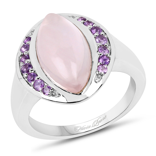 Rings-3.57 Carat Genuine Rose Quartz And Amethyst .925 Sterling Silver Ring