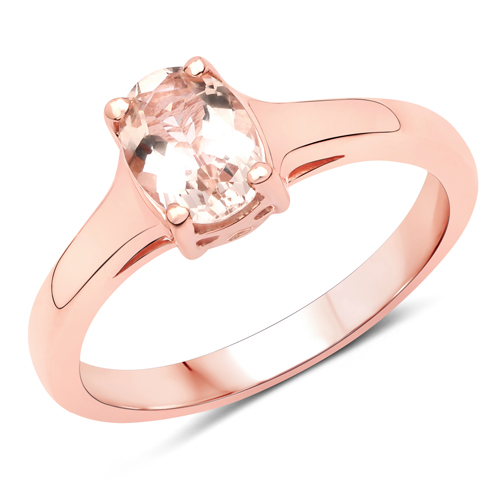 Rings-14K Rose Gold Plated 0.70 Carat Genuine Morganite .925 Sterling Silver Ring