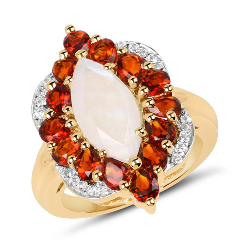 Rings-14K Yellow Gold Plated 4.54 Carat Genuine Rainbow, Citrine and White Topaz .925 Sterling Silver Ring