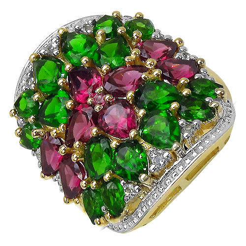 Rhodolite-14K Yellow Gold Plated 6.50 Carat Genuine Rhodolite, Chrome Diopside & White Topaz .925 Streling Silver Ring