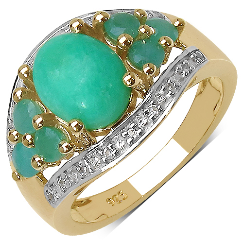 Rings-14K Yellow Gold Plated 6.87 Carat Genuine Crysopharse, Emerald & White Topaz .925 Streling Silver Ring