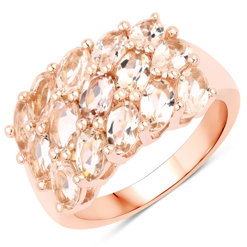Rings-18K Rose Gold Plated 3.30 Carat Genuine Morganite .925 Sterling Silver Ring