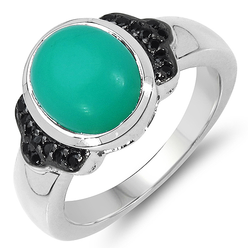 Rings-3.18 Carat Genuine Crysopharse & Black Spinel .925 Sterling Silver Ring