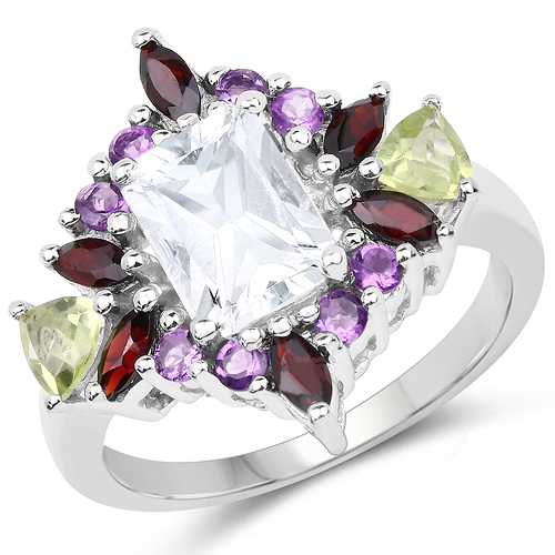 Rings-3.25 Carat Genuine Multi Stone .925 Sterling Silver Ring