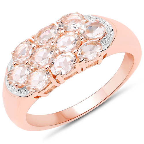 Rings-1.50 Carat Genuine Morganite .925 Sterling Silver Ring
