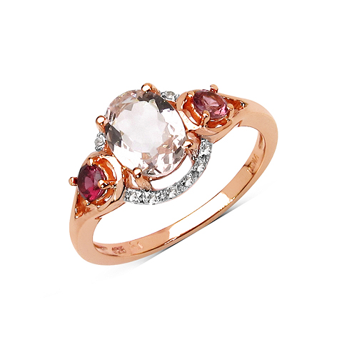 Rings-14K Rose Gold Plated 1.40 Carat Genuine Morganite, Pink Tourmaline & White Topaz .925 Sterling Silver Ring