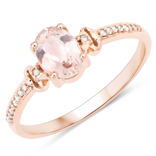 Rings-0.75 Carat Genuine Morganite and White Diamond 14K Rose Gold Ring