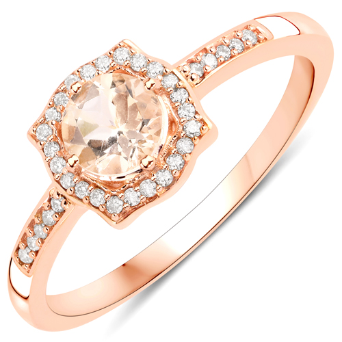 Rings-0.51 Carat Genuine Morganite and White Diamond 14K Rose Gold Ring