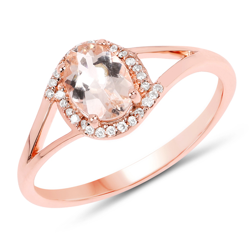 Rings-0.78 Carat Genuine Morganite and White Diamond 14K Rose Gold Ring