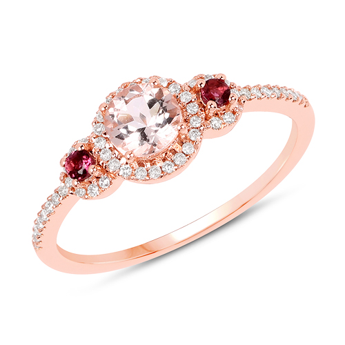 Rings-0.63 Carat Genuine Morganite, Pink Tourmaline and White Diamond 14K Rose Gold Ring