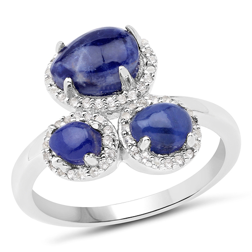 Rings-2.28 Carat Genuine Blue Aventurine And White Topaz .925 Sterling Silver Ring