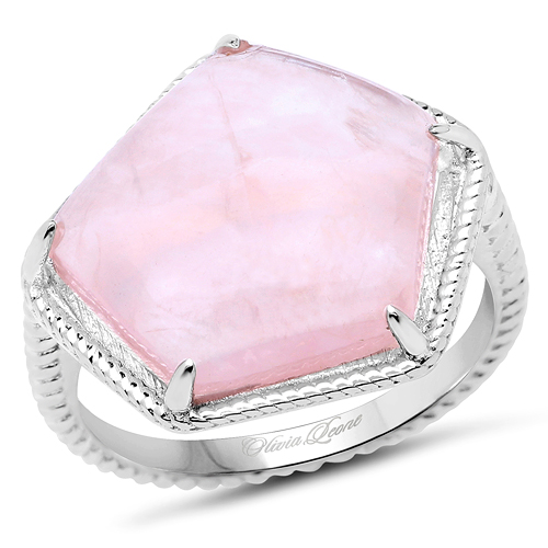 Rings-4.84 Carat Genuine Rose Quartz .925 Sterling Silver Ring