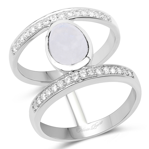 Rings-2.62 Carat Genuine White Rainbow Moonstone And White Topaz .925 Sterling Silver Ring