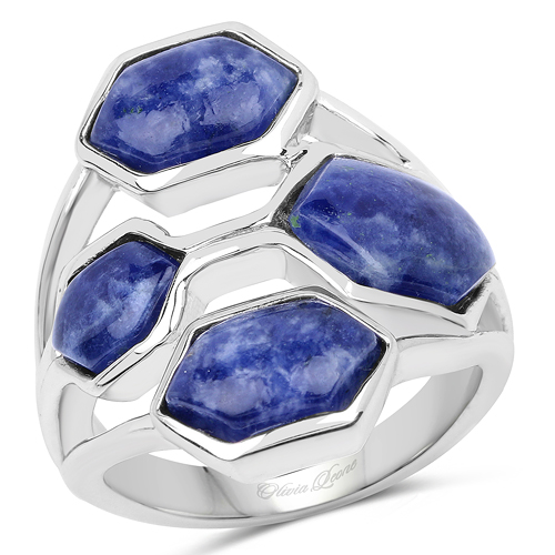 Rings-6.03 Carat Genuine Blue Aventurine .925 Sterling Silver Ring