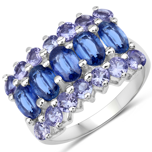 Rings-2.09 Carat Genuine Kyanite and Tanzanite .925 Sterling Silver Ring