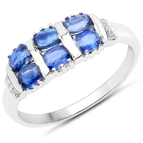 Rings-1.51 Carat Genuine Kyanite and White Diamond .925 Sterling Silver Ring