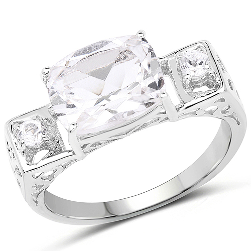 Rings-3.02 Carat Genuine Crystal Quartz and White Topaz .925 Sterling Silver Ring