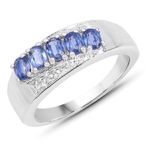Rings-1.12 Carat Genuine Kyanite and White Topaz .925 Sterling Silver Ring