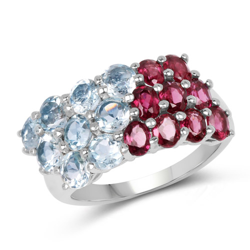Rhodolite-5.13 Carat Genuine Rhodolite and Blue Topaz .925 Sterling Silver Ring