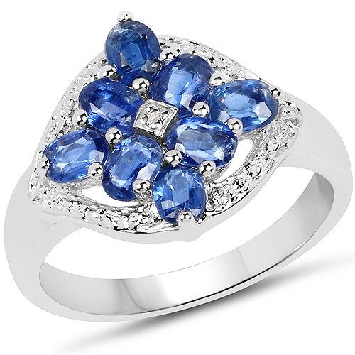 Rings-2.17 Carat Genuine Kyanite & White Diamond .925 Sterling Silver Ring
