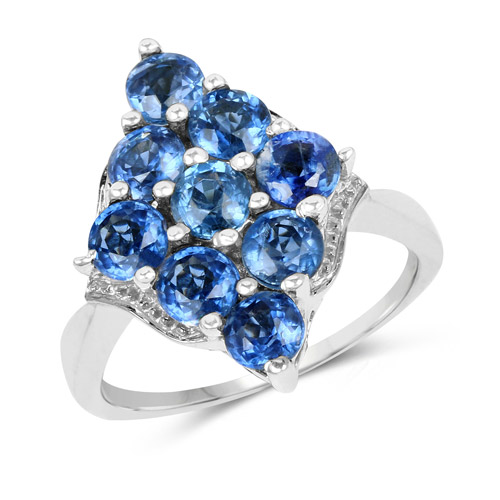 Rings-3.42 Carat Genuine Kyanite .925 Sterling Silver Ring