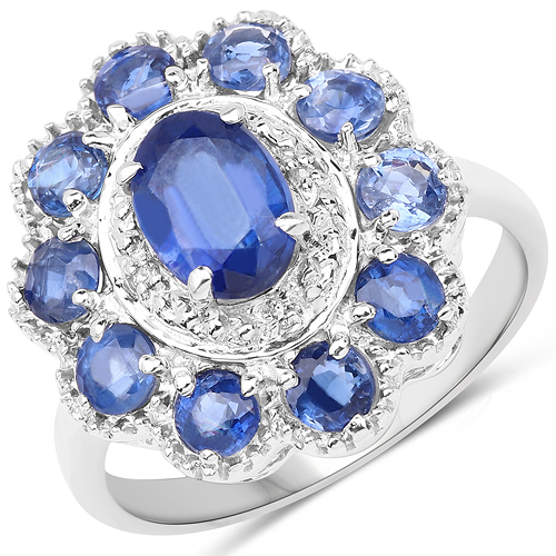 Rings-2.47 Carat Genuine Kyanite & White Topaz .925 Sterling Silver Ring