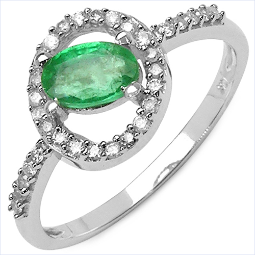Emerald-0.63 Carat Emerald & White Diamond 10K White Gold Ring