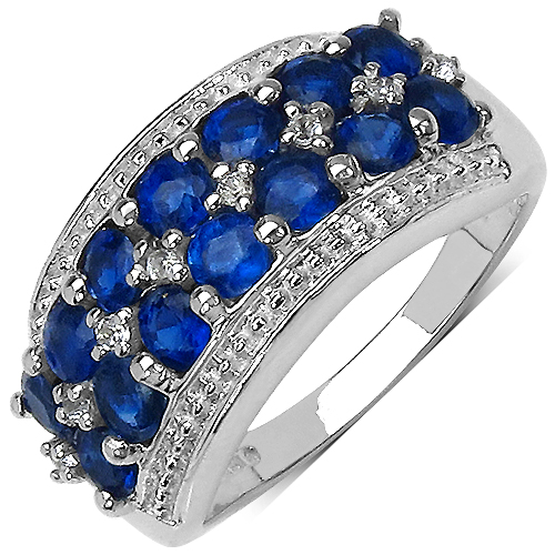 Rings-2.00 Carat Genuine Kyanite & White Topaz .925 Sterling Silver Ring