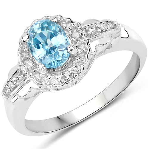 Rings-1.48 Carat Genuine Blue Zircon and White Diamond.925 Sterling Silver Ring