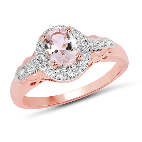 Rings-14K Rose Gold Plated 0.73 Carat Genuine Morganite & White Topaz .925 Sterling Silver Ring