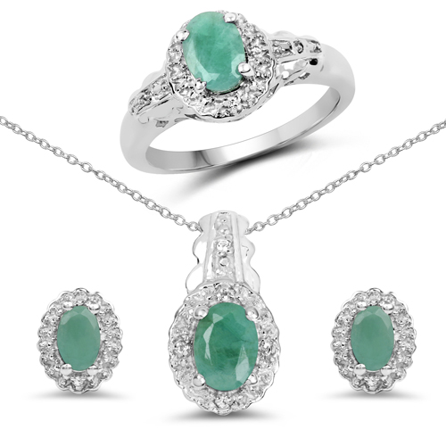 2.48 Carat Genuine Emerald and White Topaz .925 Sterling Silver Ring, Pendant & Earrings Set
