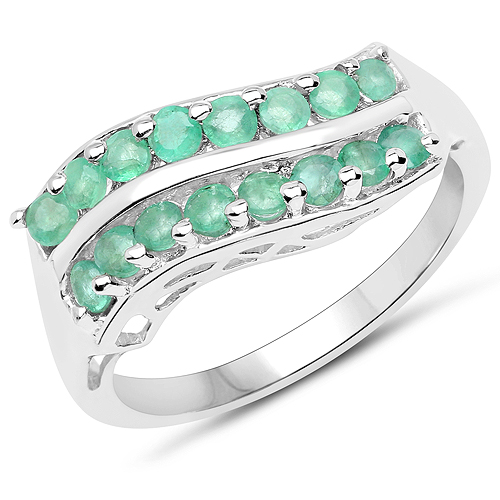 Emerald-0.80 Carat Genuine Emerald .925 Sterling Silver Ring