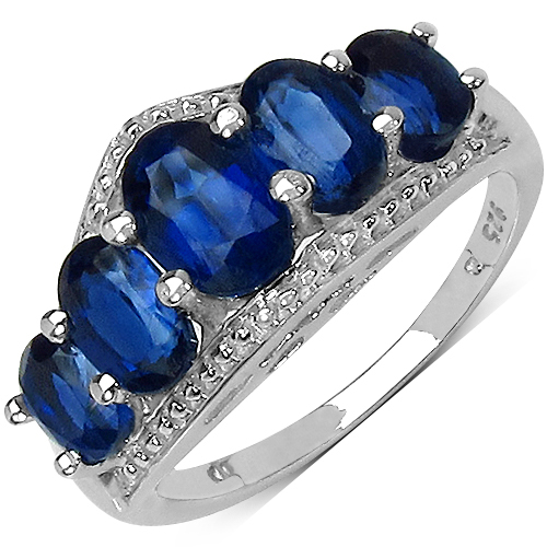 Rings-3.04 Carat Genuine Kyanite .925 Sterling Silver Ring
