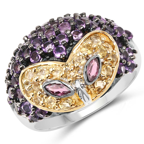 Rhodolite-2.10 Carat Genuine Rhodolite, Citrine and Amethyst .925 Sterling Silver Ring