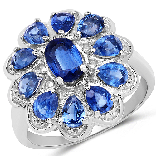 Rings-2.88 Carat Genuine Kyanite .925 Sterling Silver Ring