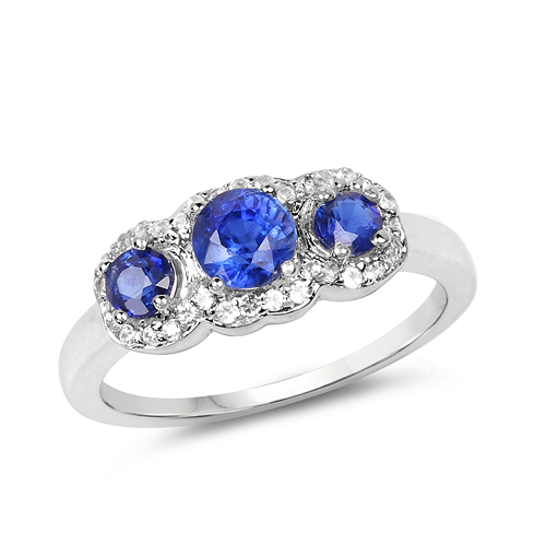 Rings-1.33 Carat Genuine Kyanite & White Topaz .925 Sterling Silver Ring