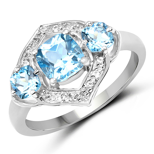 Rings-1.91 Carat Genuine Swiss Blue Topaz and White Topaz .925 Sterling Silver Ring