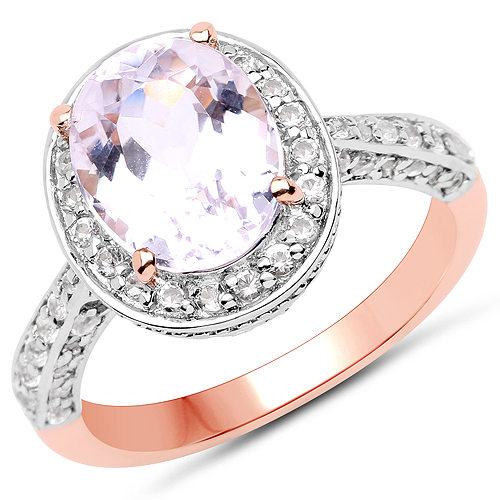 Rings-14K Rose Gold Plated 3.86 Carat Genuine Kunzite and White Zircon .925 Sterling Silver Ring