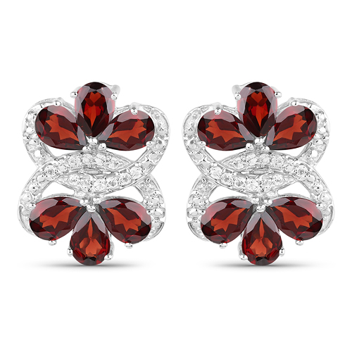 10.38 Carat Genuine Garnet and White Topaz .925 Sterling Silver Earrings